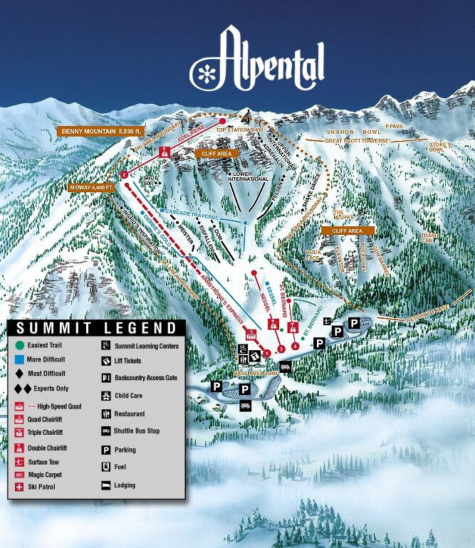 Alpental At The Summit Piste / Trail Map