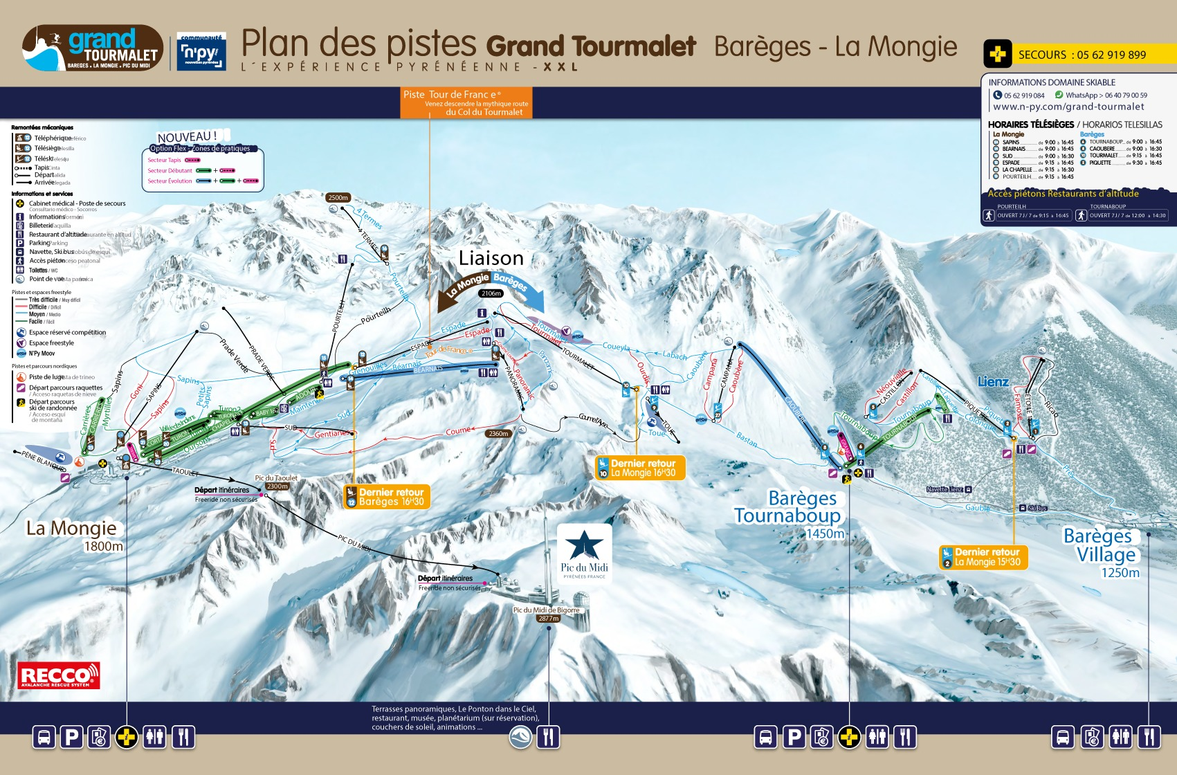 Bareges & La Mongie Piste / Trail Map