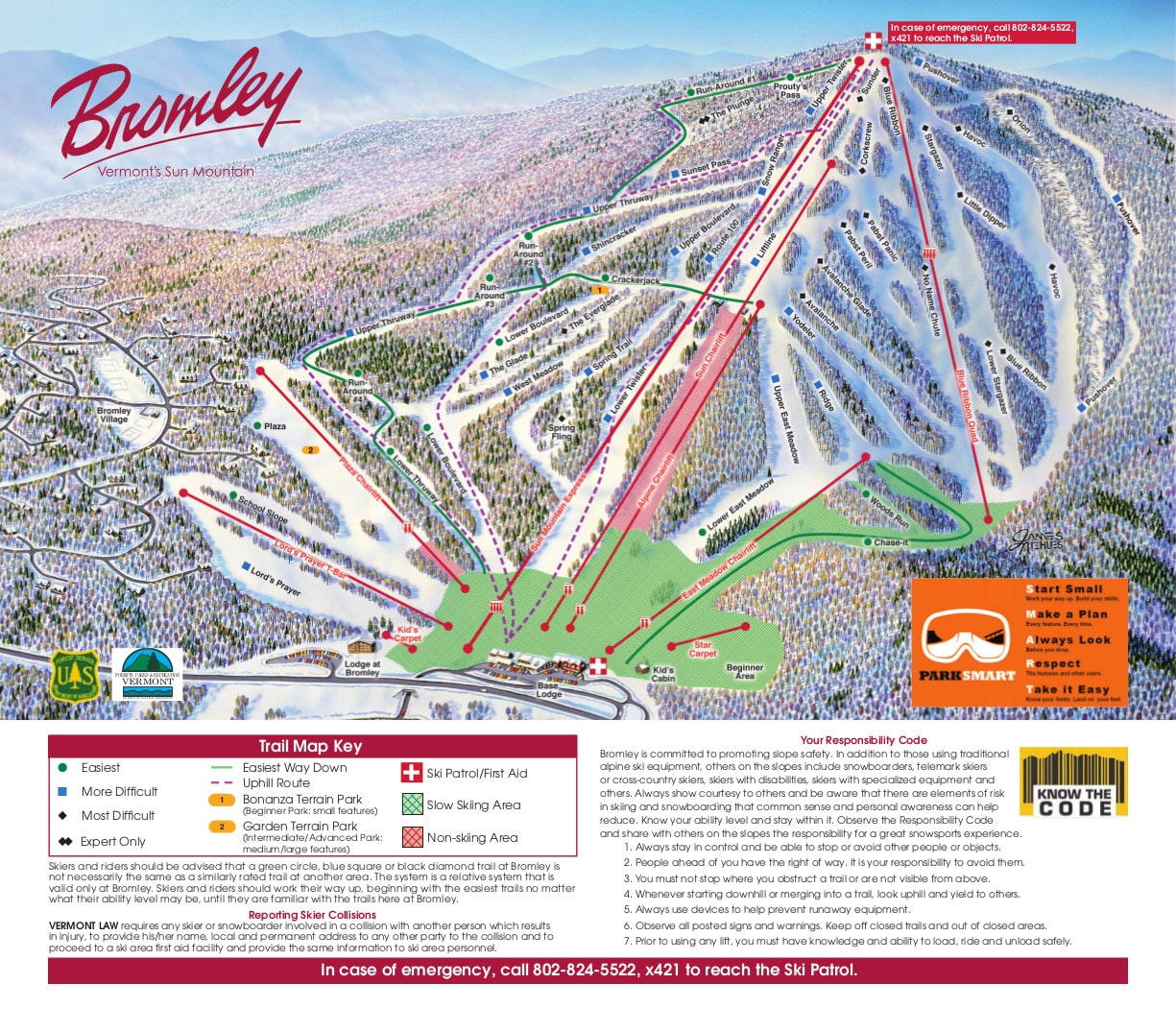 Bromley Mountain Piste / Trail Map