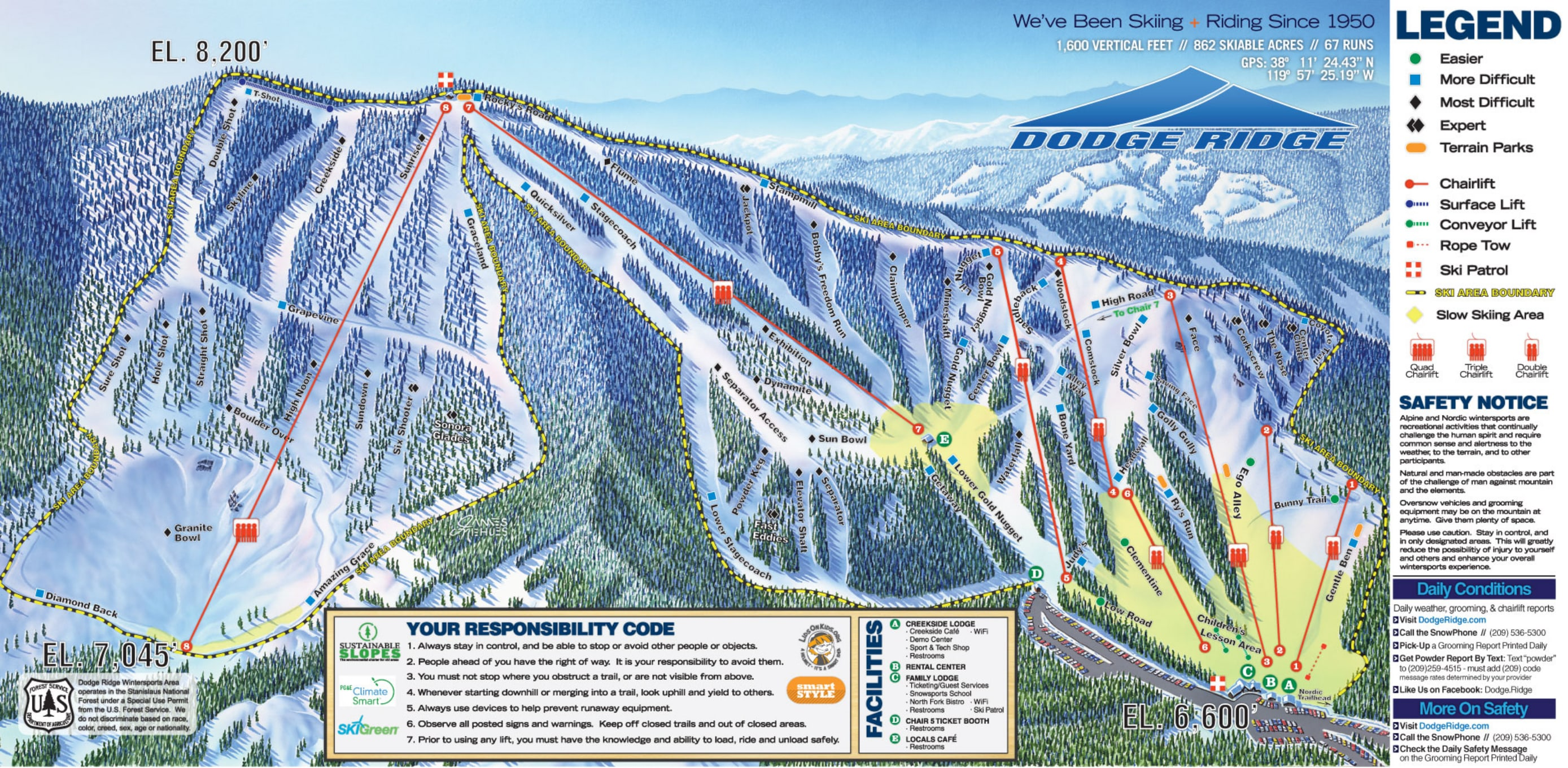 Dodge Ridge Piste / Trail Map