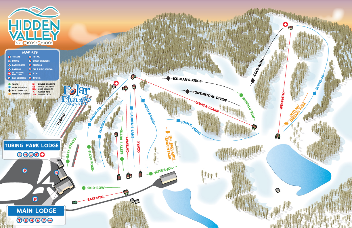 Hidden Valley Piste / Trail Map