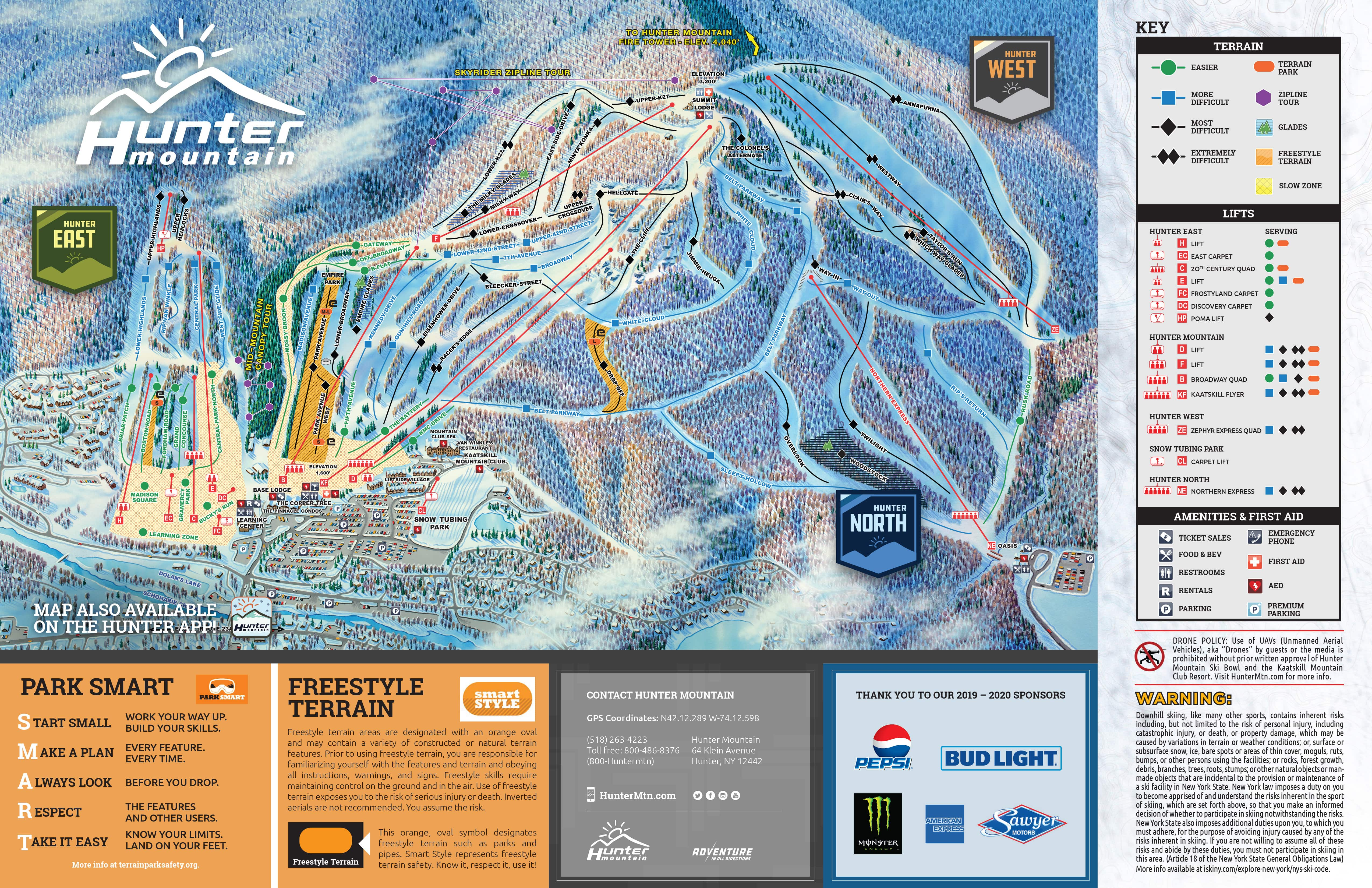 Hunter Mountain Piste / Trail Map