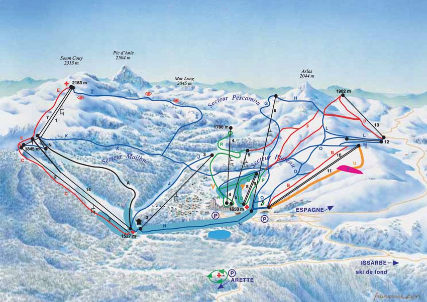 Plan des pistes et sentiers de randonn es de la pierre - Office de tourisme la pierre saint martin ...