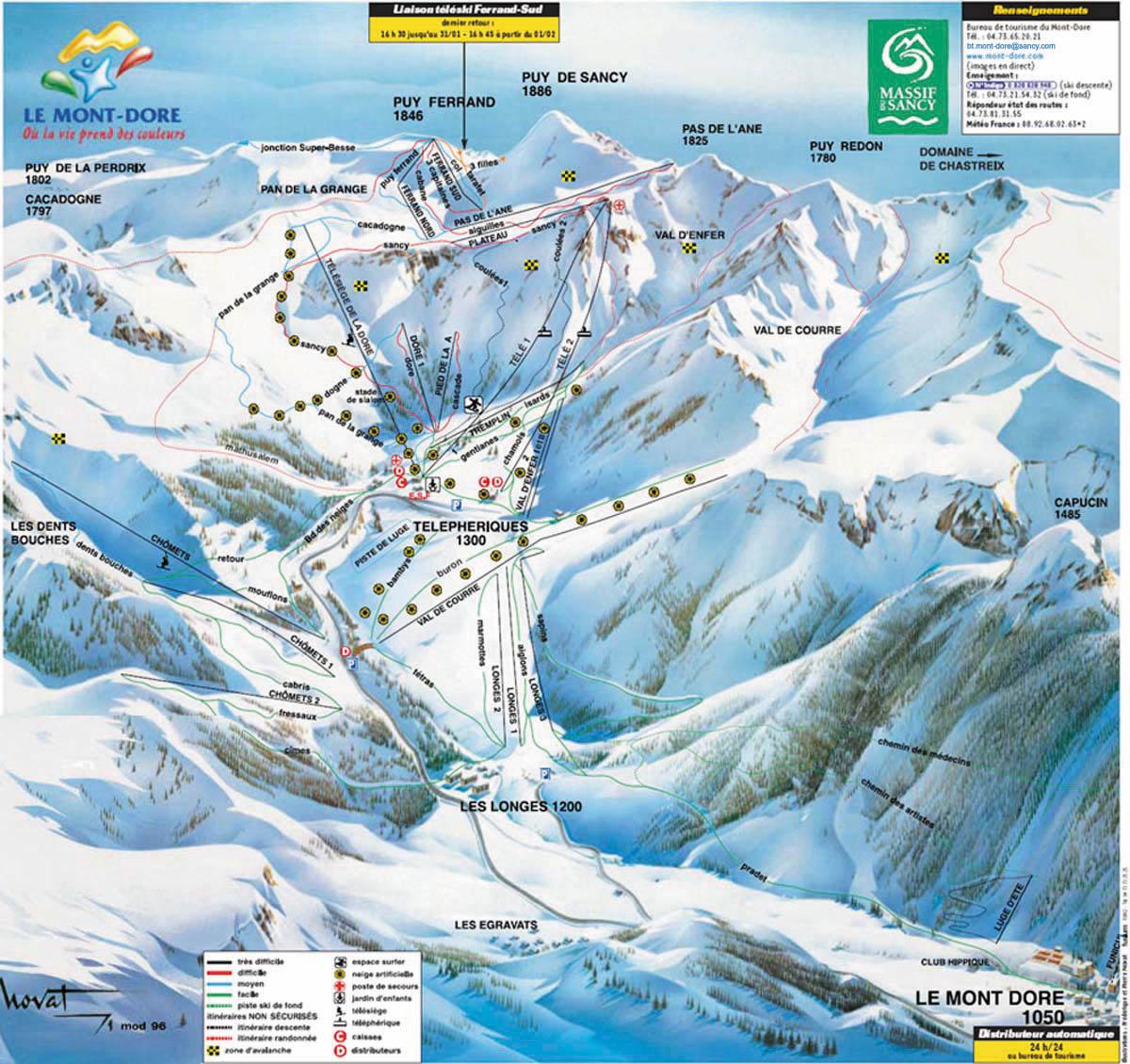 plan des pistes et sentiers de randonn 233 es de le mont dore