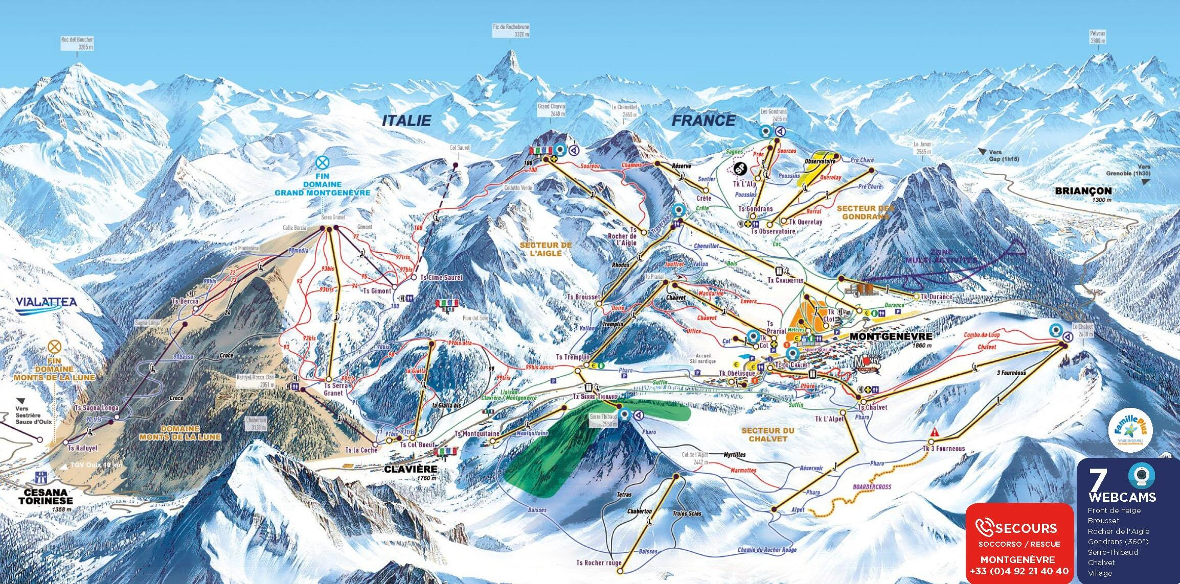 Montgenèvre (Via Lattea) Piste / Trail Map
