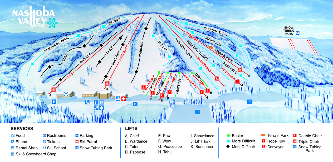 Nashoba Valley Piste / Trail Map