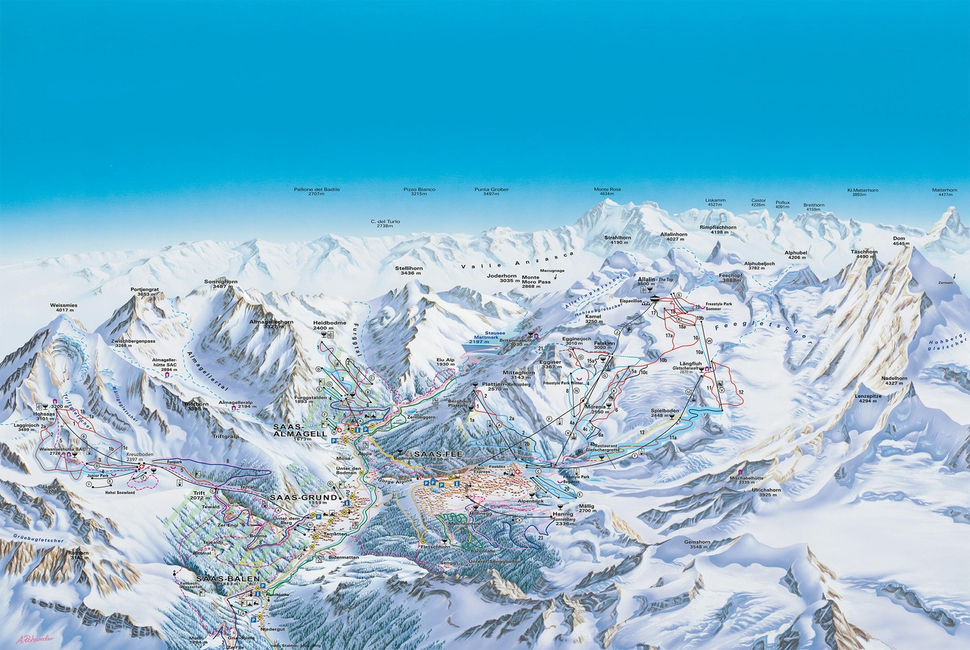 Saas Fee Piste / Trail Map