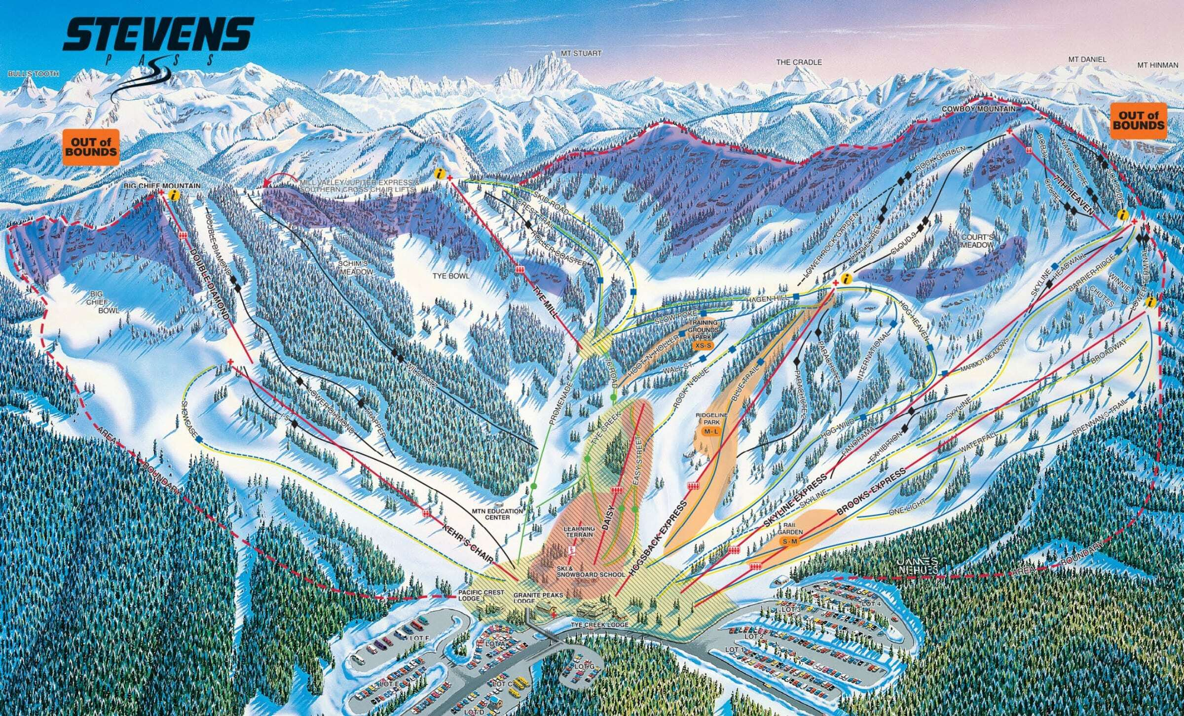 Stevens Pass Piste / Trail Map