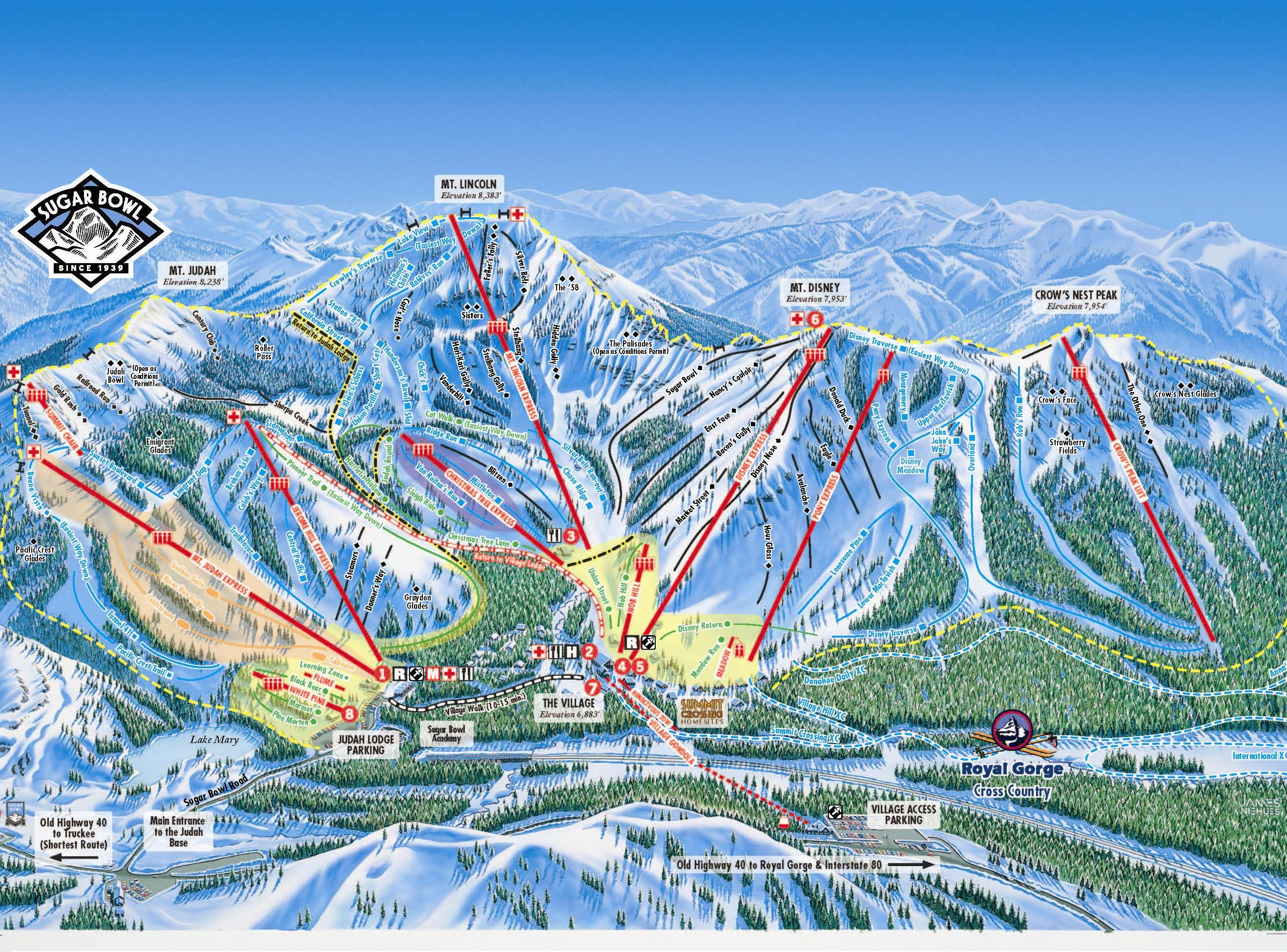 Sugar Bowl Piste / Trail Map