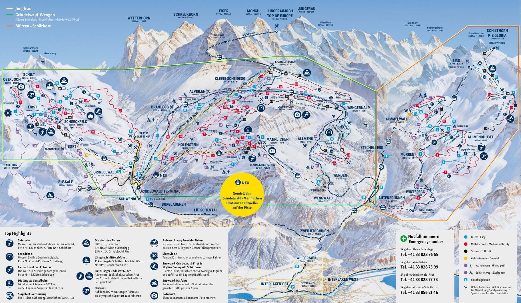Guide de station de ski de wengen carte h bergement vacances de ski wengen - Office du tourisme wengen ...