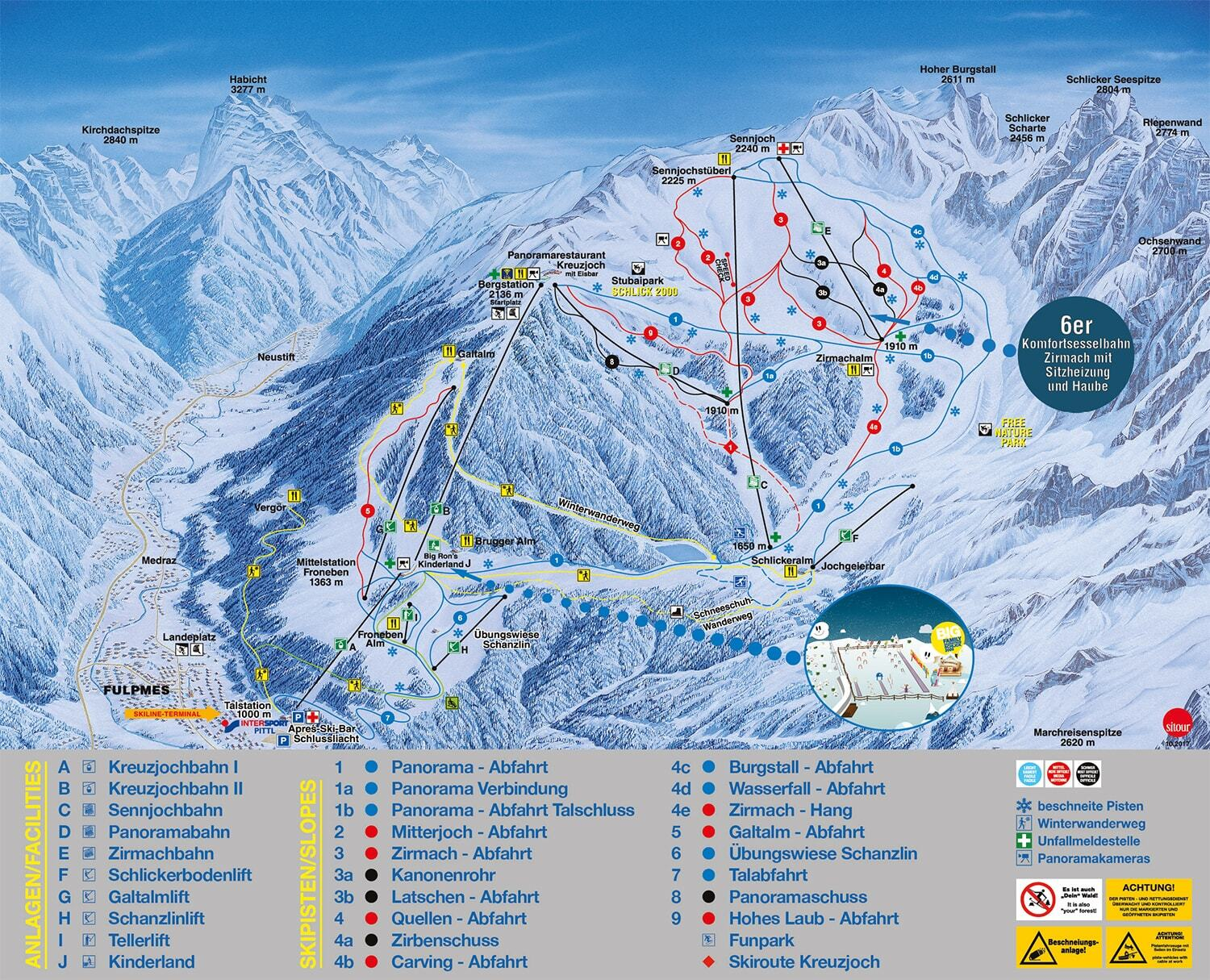Fulpmes Piste / Trail Map