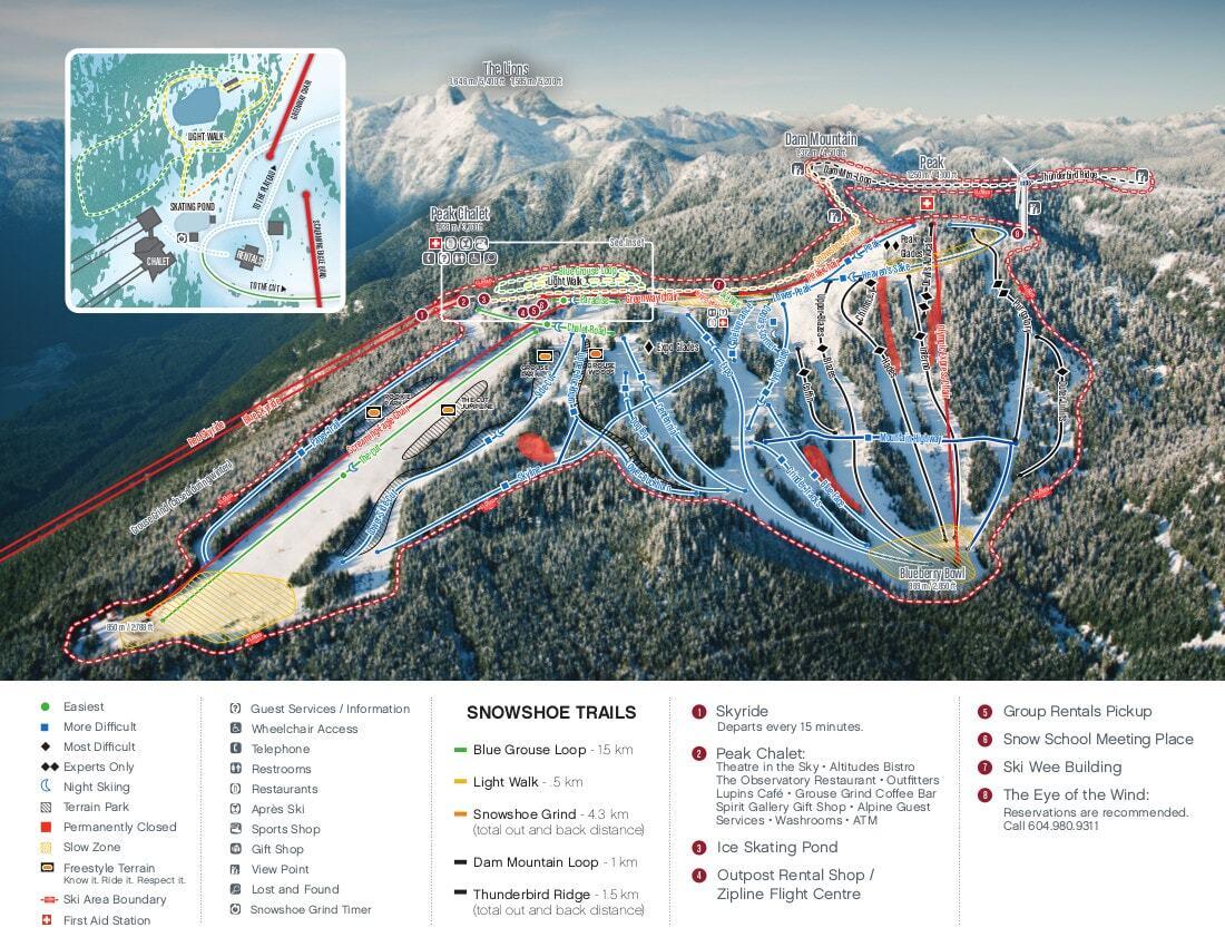 Guide De Station De Ski De Grouse Mountain Carte