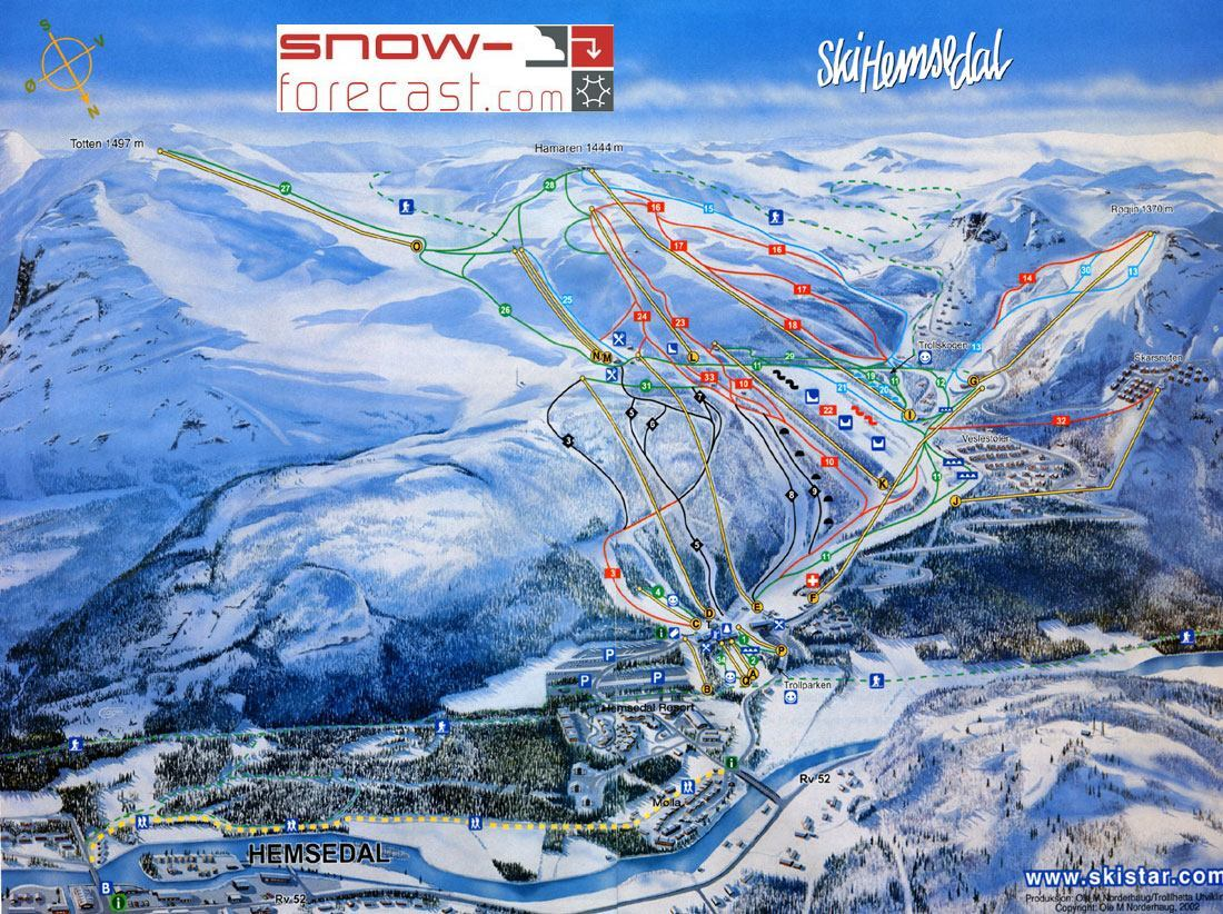 Hemsedal Piste / Trail Map