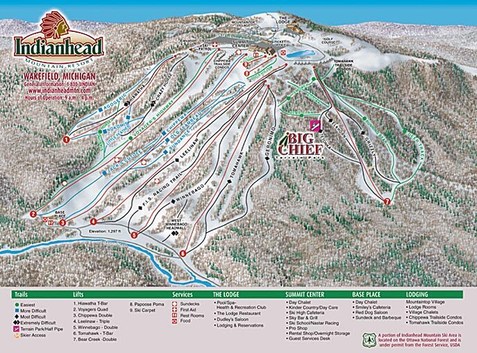 Indianhead Mountain Piste / Trail Map