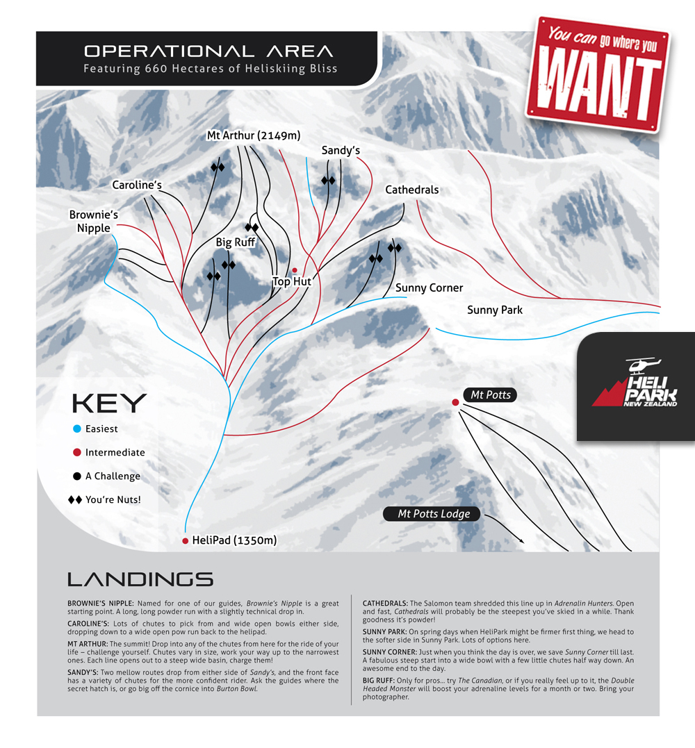 HeliPark New Zealand Piste / Trail Map