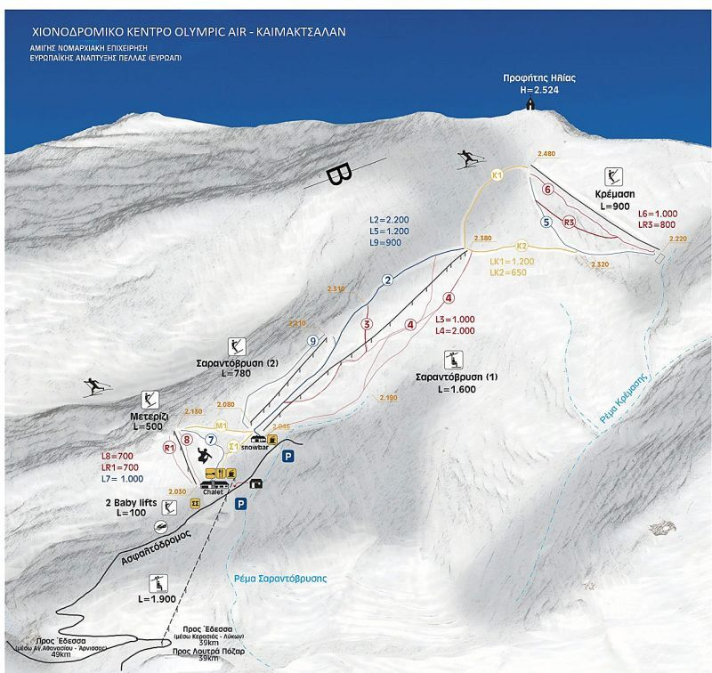 Mt Voras Kaimaktsalan Piste / Trail Map