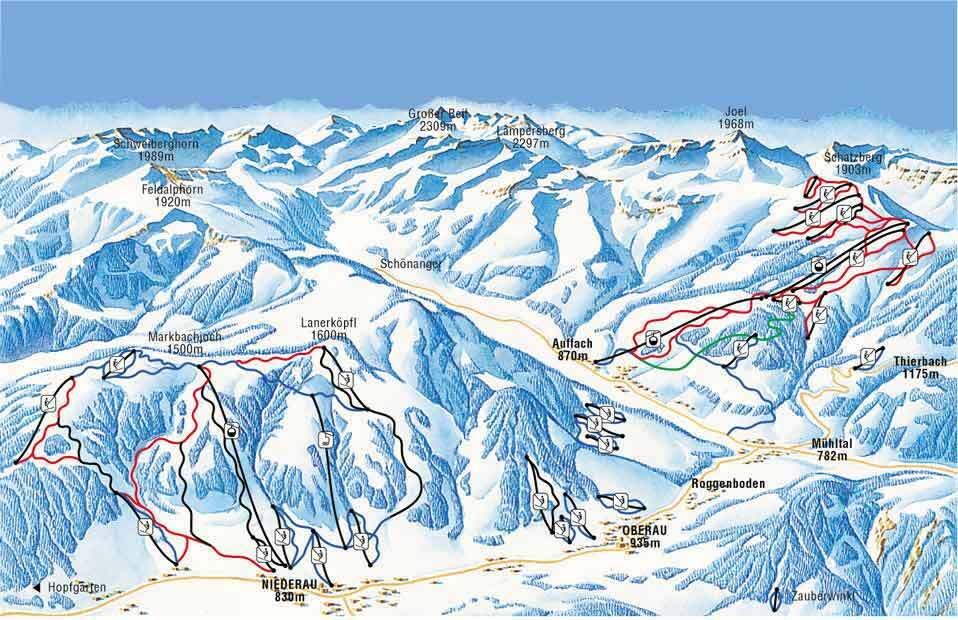 Niederau - Wildschonau Piste / Trail Map