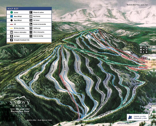 Snowy Range Ski and Recreation Area Piste / Trail Map