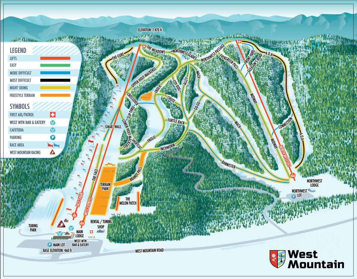 West Mountain Piste / Trail Map